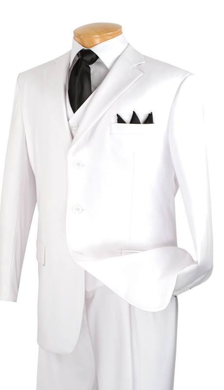 Vinci Mens Suit 3TR-3-WH ( 3pc Single Breasted With Vest, Three Buttons, Side Vents, Pleated Pants, Pure Solid )
