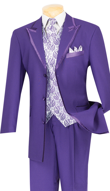 Vinci Mens Suit 33RR-4-PUR ( 5pc Single Breasted Three Button Jacket, Side Vents, Solid Color Jacket, Pleated Pants )