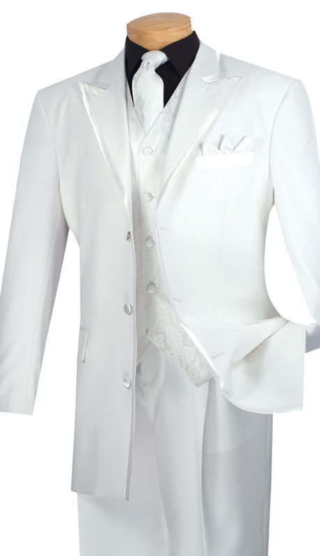 Vinci Mens Suit 33RR-4-WHT ( 5pc Single Breasted Three Button Jacket, Side Vents, Solid Color Jacket, Pleated Pants )