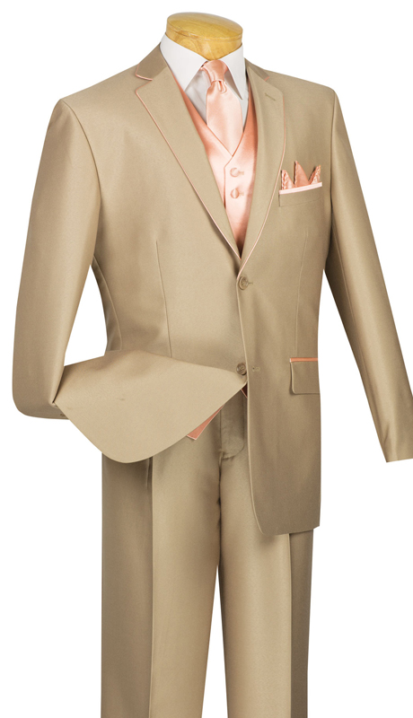 Vinci Mens Suit 23SS-4-TP ( 5pc Single Breasted Two Buttons, Trimmed Jacket With Fancy Vest, Flat Front Pants )