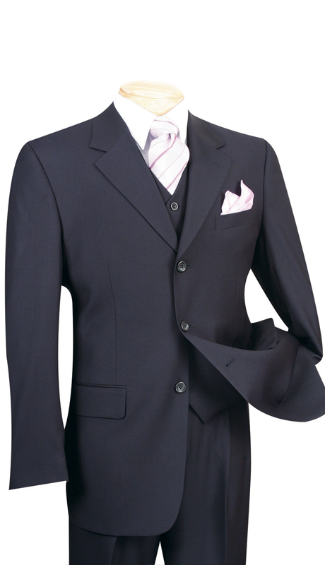 Vinci Mens Suit 3TR-3-NA ( 3pc Single Breasted With Vest, Three Buttons, Side Vents, Pleated Pants, Pure Solid )