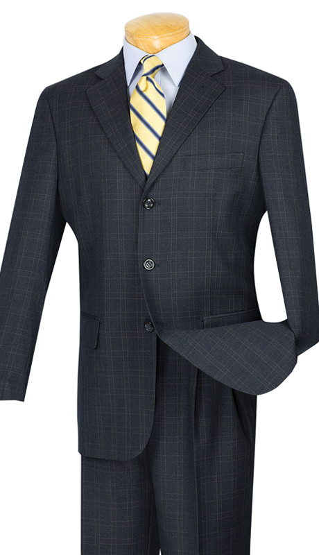 Vinci Mens Suit 3RW-15-BLU ( 2pc Single Breasted, Three Buttons, Pleated Pants, Window Pane )