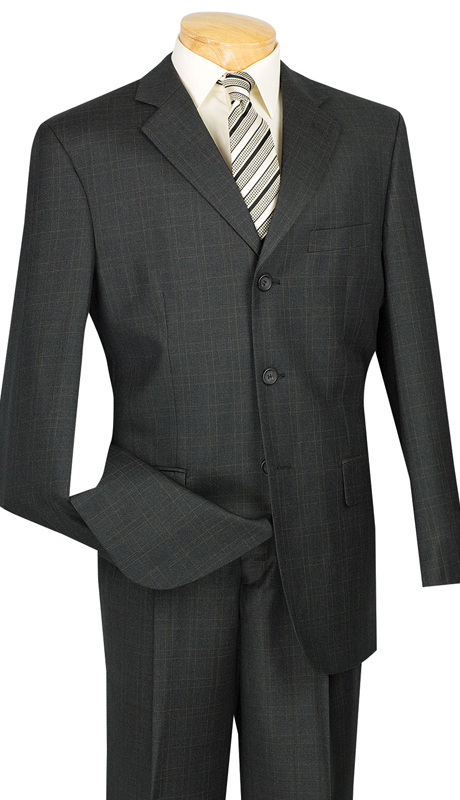 Vinci Mens Suit 3RW-15-BLK ( 2pc Single Breasted, Three Buttons, Pleated Pants, Window Pane )