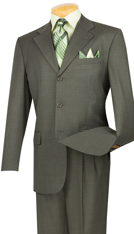 Vinci Mens Suit 3RW-15-OL ( 2pc Single Breasted, Three Buttons, Pleated Pants, Window Pane )
