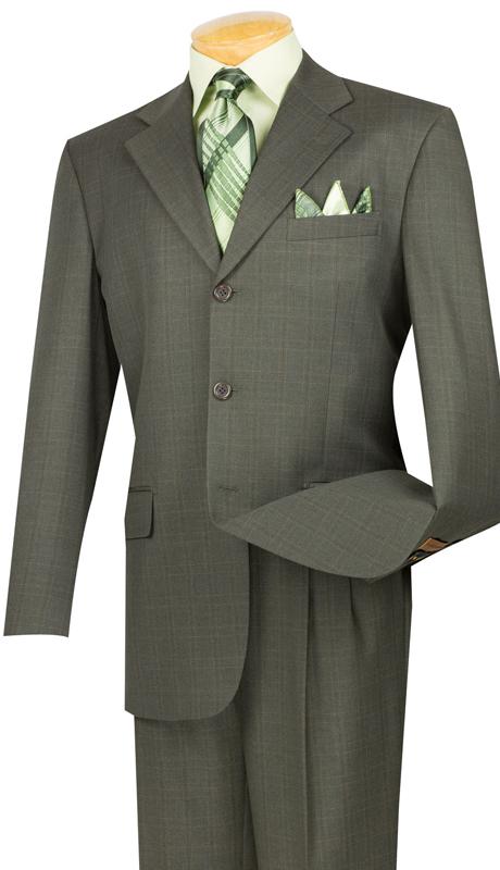 Vinci Mens Suit 3RW-15-OL ( 2pc Single Breasted, Three Buttons, Pleated Pants, Window Pane )