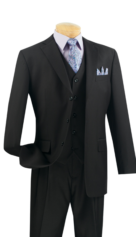 Vinci Mens Suit 3TR-3-BL ( 3pc Single Breasted With Vest, Three Buttons, Side Vents, Pleated Pants, Pure Solid )