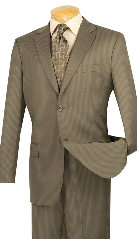 Vinci Mens Suit 2WS-1-TAU ( 2pc Single Breasted, Two Buttons, Side Vents, Classic Pinstripe )
