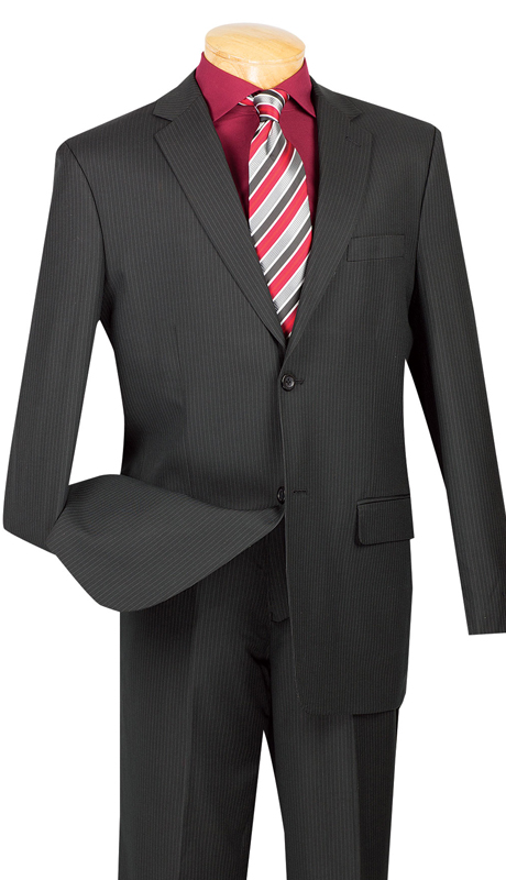 Vinci Mens Suit 2WS-1-BLK ( 2pc Single Breasted, Two Buttons, Side Vents, Classic Pinstripe )