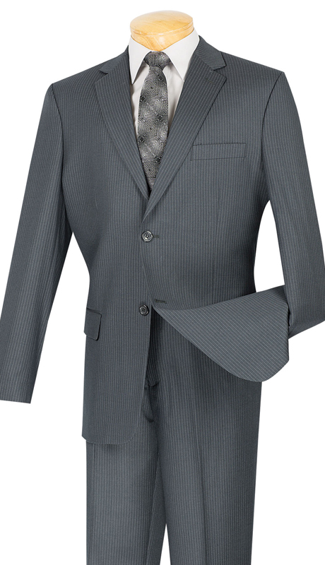 Vinci Mens Suit 2WS-1-GR ( 2pc Single Breasted, Two Buttons, Side Vents, Classic Pinstripe )