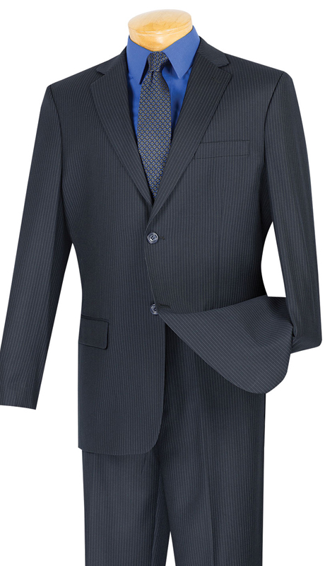 Vinci Mens Suit 2WS-1-NA ( 2pc Single Breasted, Two Buttons, Side Vents, Classic Pinstripe )