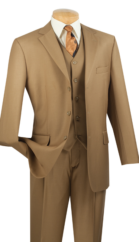 Vinci Mens Suit 3TR-3-BK ( 3pc Single Breasted With Vest, Three Buttons, Side Vents, Pleated Pants, Pure Solid )