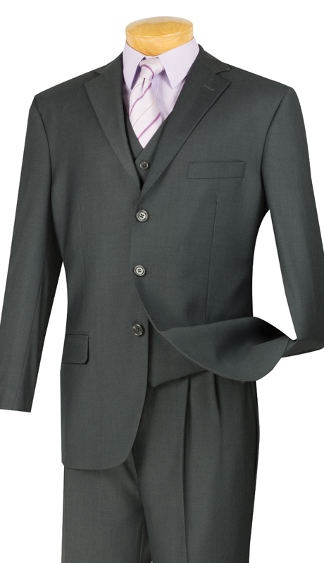 Vinci Mens Suit 3TR-3-HG ( 3pc Single Breasted With Vest, Three Buttons, Side Vents, Pleated Pants, Pure Solid )