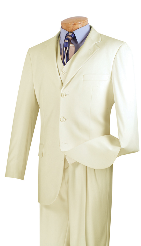 Vinci Mens Suit 3TR-3-IV ( 3pc Single Breasted With Vest, Three Buttons, Side Vents, Pleated Pants, Pure Solid )
