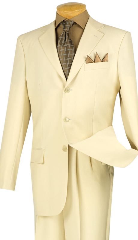 Vinci Mens Suit 3PP-ST  ( 2pc Collection, 100% Poplin Dacron, Single Breasted Three Buttons, Solid Color )