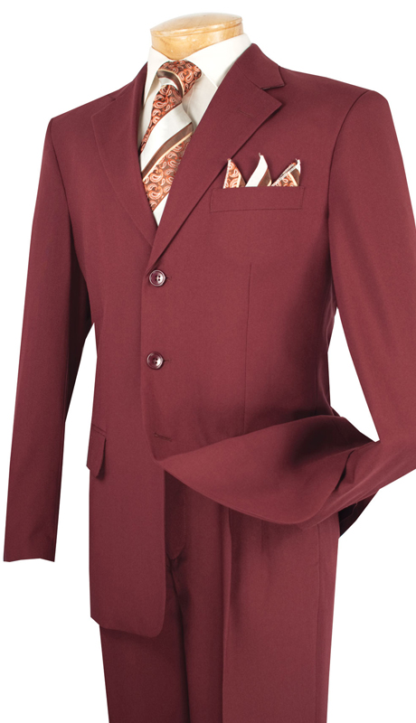 Vinci Mens Suit 3PP-BUR  ( 2pc Collection, 100% Poplin Dacron, Single Breasted Three Buttons, Solid Color )