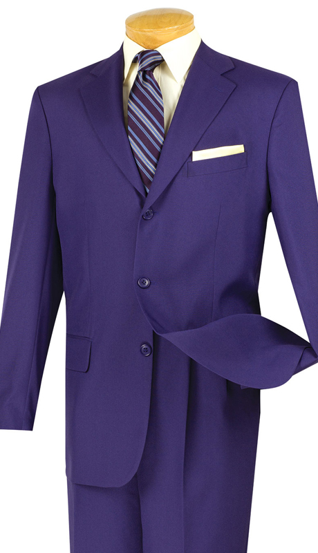 Vinci Mens Suit 3PP-PUR  ( 2pc Collection, 100% Poplin Dacron, Single Breasted Three Buttons, Solid Color )