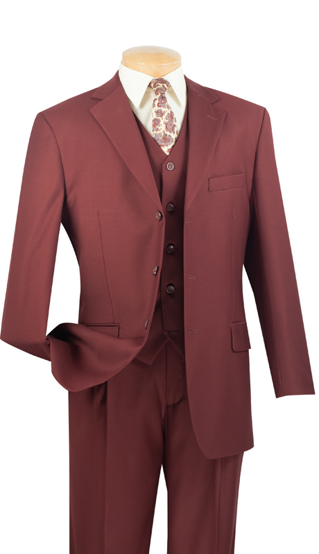 Vinci Mens Suit 3TR-3-MO ( 3pc Single Breasted With Vest, Three Buttons, Side Vents, Pleated Pants, Pure Solid )