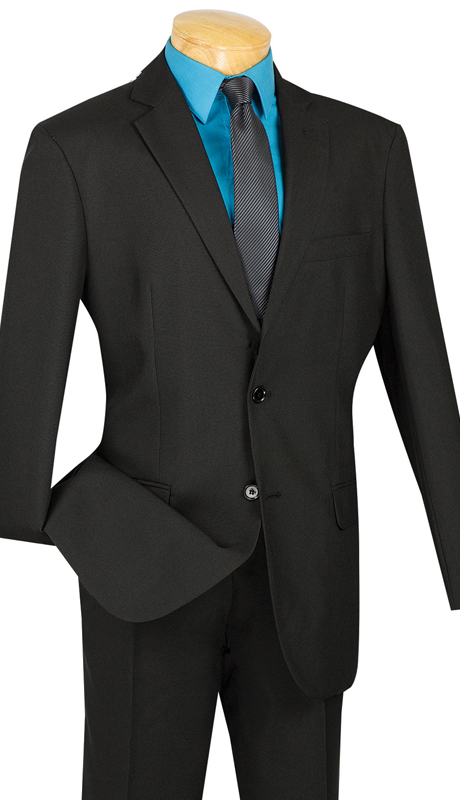 Vinci Mens Suit S-2PP-BLK ( 2pc Single Breasted Two Buttons, With Side Vents, Flat Front Pants, Solid Color )