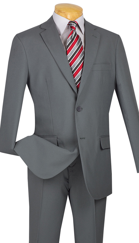 Vinci Mens Suit S-2PP-GR ( 2pc Single Breasted Two Buttons, With Side Vents, Flat Front Pants, Solid Color )