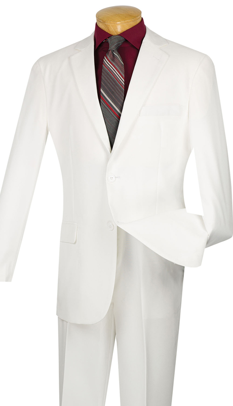 Vinci Mens Suit S-2PP-WHT ( 2pc Single Breasted Two Buttons, With Side Vents, Flat Front Pants, Solid Color )