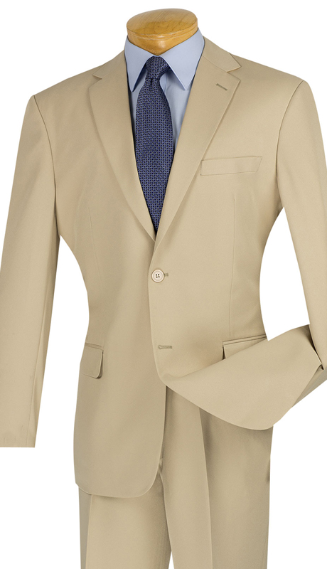 Vinci Mens Suit S-2PP-BE ( 2pc Single Breasted Two Buttons, With Side Vents, Flat Front Pants, Solid Color )