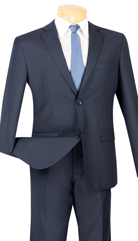 Vinci Mens Suit US900-1-NA ( 2pc Single Breasted Two Buttons, Side Vents, Flat Front Pants, Solid Color )