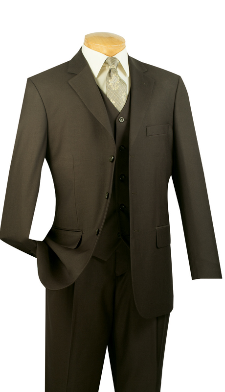 Vinci Mens Suit 3TR-3-OL ( 3pc Single Breasted With Vest, Three Buttons, Side Vents, Pleated Pants, Pure Solid )