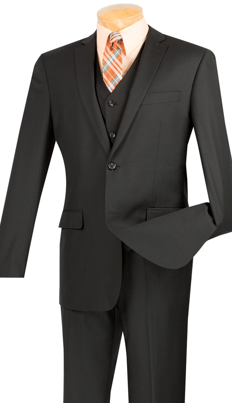 Vinci Mens Suit SV2900-BLK ( 3pc Single Breasted, Two Buttons, With Vest, Side Vents, Flat Front Pants, Solid Color )