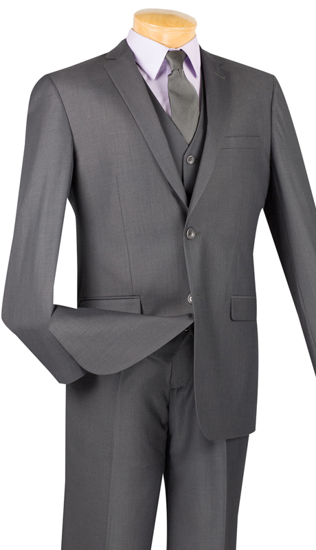Vinci Mens Suit SV2900-HG ( 3pc Single Breasted, Two Buttons, With Vest, Side Vents, Flat Front Pants, Solid Color )