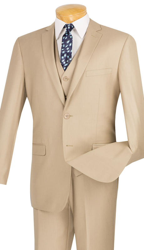 Vinci Mens Suit SV2900-BE ( 3pc Single Breasted, Two Buttons, With Vest, Side Vents, Flat Front Pants, Solid Color )