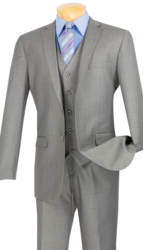 Vinci Mens Suit SV2900-MG ( 3pc Single Breasted, Two Buttons, With Vest, Side Vents, Flat Front Pants, Solid Color )