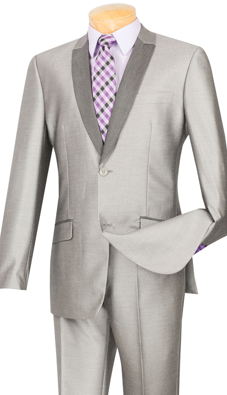 Vinci Mens Suit S2PS-1-GR ( 2pc Single Breasted, Two Buttons, With Trimmed Shawl Lapel, Side Vents, Flat Front Pants, Shark Skin )