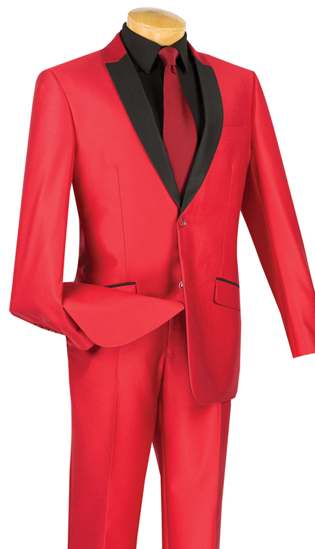 Vinci Mens Suit S2PS-1-RE ( 2pc Single Breasted, Two Buttons, With Trimmed Shawl Lapel, Side Vents, Flat Front Pants, Shark Skin )