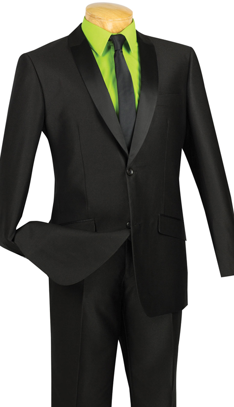 Vinci Mens Suit S2PS-1-BLK ( 2pc Single Breasted, Two Buttons, With Trimmed Shawl Lapel, Side Vents, Flat Front Pants, Shark Skin )
