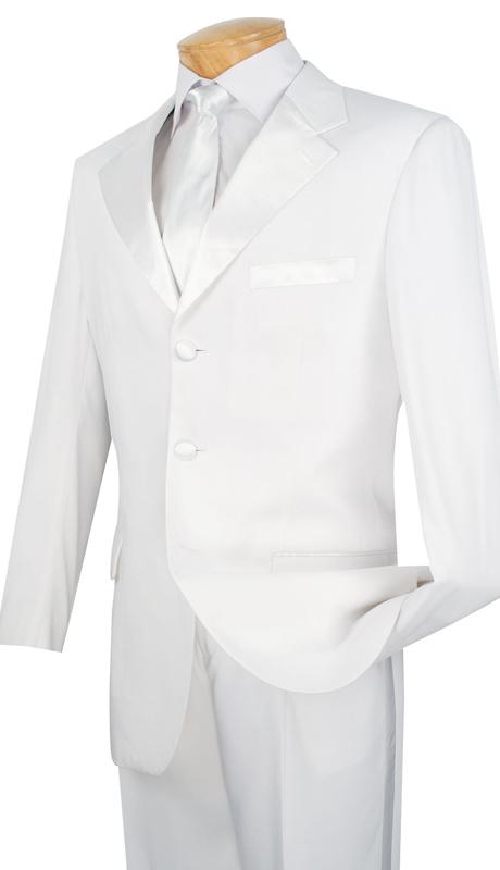 Vinci Mens Suit T-3HT-WHT ( 2pc Executive Suit, Single Breasted, Two Buttons, Side vents, Flat Front Pants )