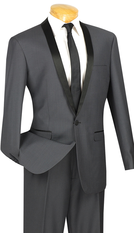 Vinci Mens Suit T-SS-HG ( 2pc Single Breasted, Two Buttons, Narrow Shawl Collar, Side Vents, Flat Front Pants )