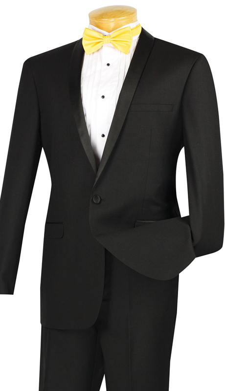 Vinci Mens Suit T-SS-BLK ( 2pc Single Breasted, Two Buttons, Narrow Shawl Collar, Side Vents, Flat Front Pants )