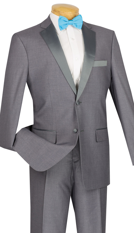 Vinci Mens Tuxedo T-SC900-GR ( 2pc Single Breasted, Two Buttons, Side Vents, Flat Front Pants, Solid Color )