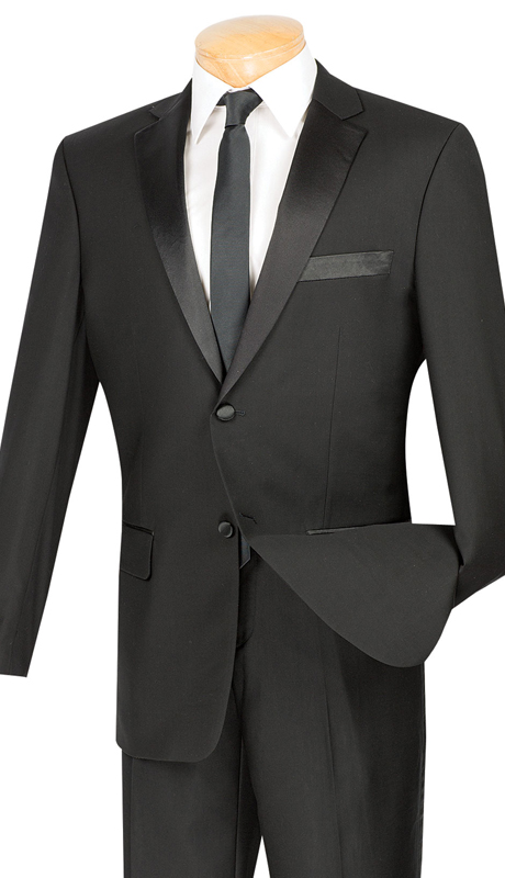 Vinci Mens Tuxedo T-SC900-BLK ( 2pc Single Breasted, Two Buttons, Side Vents, Flat Front Pants, Solid Color )