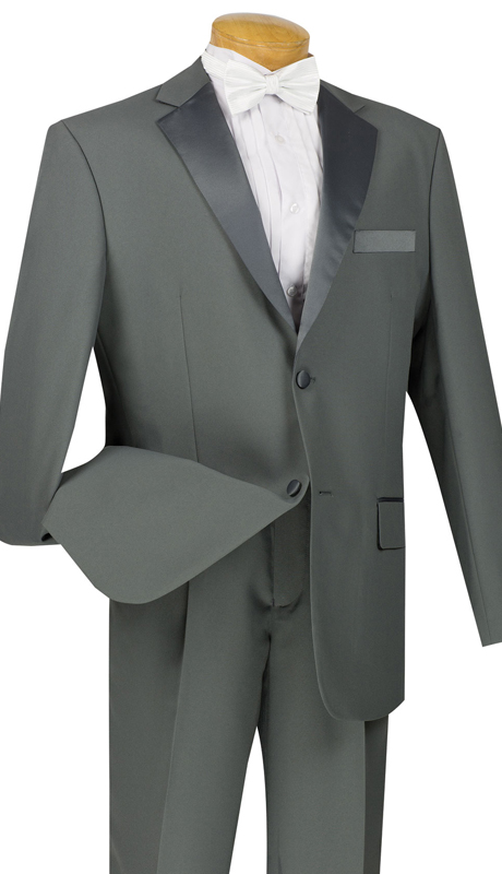 Vinci Mens Tuxedo T-2PP-GR  ( 2pc Single Breasted, Two Buttons, Pleated Pants )