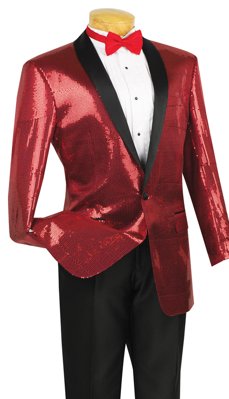 Vinci Mens Suit BSQ-1-RE ( 1pc Single Breasted, One Button, Side Vents, Shawl Collar Sequins, Sports Coat )