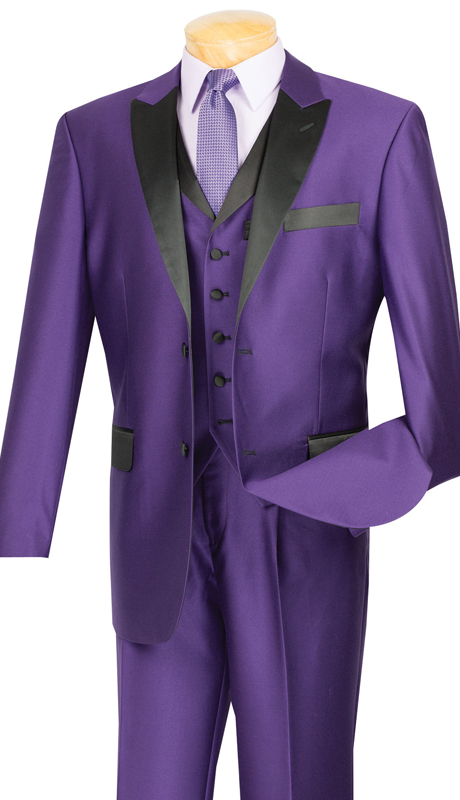 Vinci Mens Suit 23TX-1-PUR ( 3pc Single Breasted, Two Buttons,  Peek Sateen Lapel, Side Vents, Single Pleated Pants )