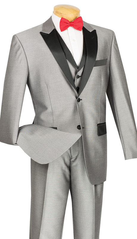 Vinci Mens Suit 23TX-1-GR ( 3pc Single Breasted, Two Buttons,  Peek Sateen Lapel, Side Vents, Single Pleated Pants )