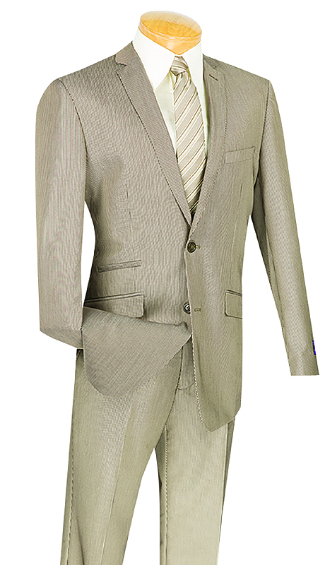 Vinci Mens Suit S2RS-7-TA ( 2pc Single Breasted, Two Buttons, Side Vents, Flat Front Pants, Narrow Pin Stripe )
