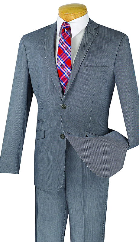 Vinci Mens Suit S2RS-7-GR ( 2pc Single Breasted, Two Buttons, Side Vents, Flat Front Pants, Narrow Pin Stripe )
