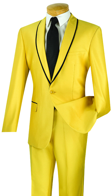 Vinci Mens Suit SSH-1-GO ( 2pc Single Breasted One Button, Trimmed Shawl Collar, Side Vents, Flat Front Pants, Shark Skin )