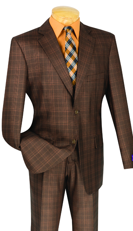 Vinci Mens Suit V2RW-7-CH ( 2pc Single Breasted With Vest, Two Buttons, Side Vents, Flat Front Pants )
