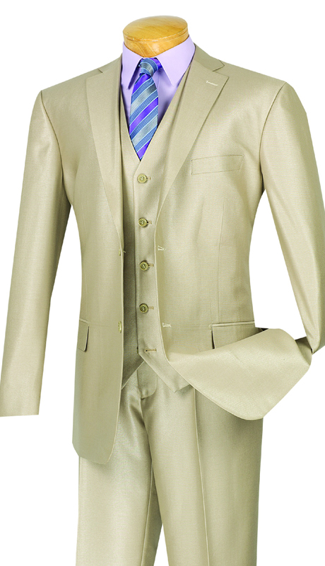 Vinci Mens Suit V2RR-1-BE ( 3pc Single Breasted Two Buttons, With Vest, Side Vents, Flat Front Pants, Shiny Solid )