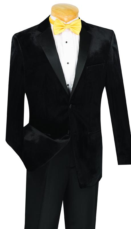 Vinci Mens Suit T-SV-BLK ( 2pc Single Breasted Velvet, Two Buttons, Tuxedo, Side Vents, Flat Front Pants )