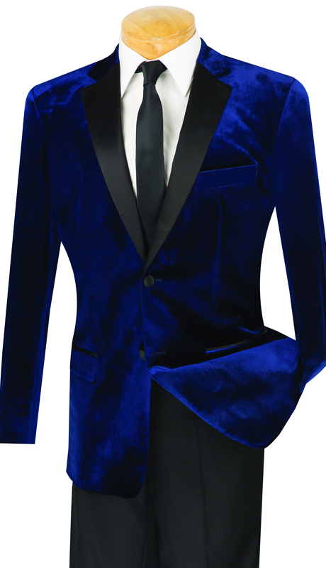 Vinci Mens Tuxedo T-SV-NA ( 2pc Single Breasted, Two Buttons, Side Vents, Velvet Jacket, Flat Front Pants )